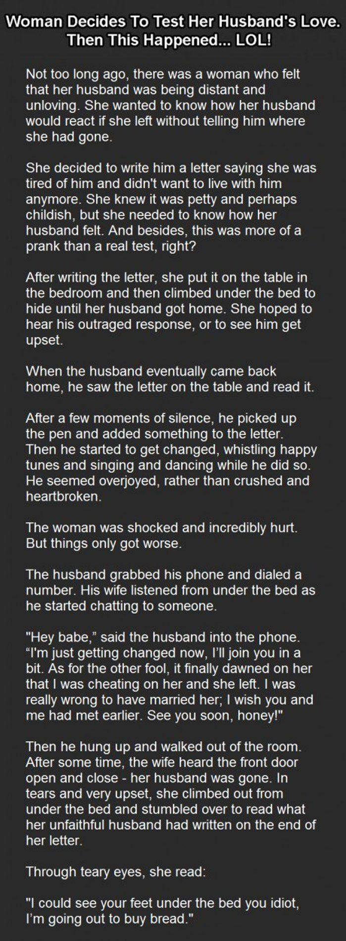 Woman Decides To Test Her Husband's Love. Then This Happened… LOL!  #Funny #HusbandWifeJOkes #CoupleJokes