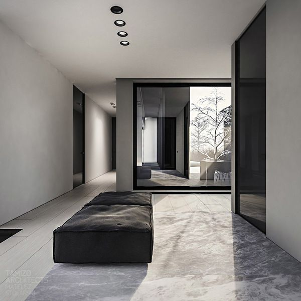 black grey white - framed - cowhide lounge couch - dressing room closet idea - Modern Minimalistic Home Exteriors & Interiors- HOME INTERIOR DESIGN IDEAS FOR YOUR MODERN MINIMALIST CHIC SELF - HOLLYWOOD HILLS LIFESTYLES - EXPENSIVE TASTE  - Karina Porushkevich #karinarussianpowpow {http://www.karinaporushkevich.com}