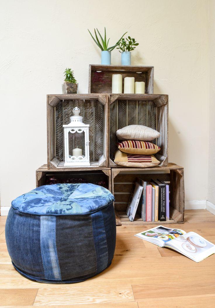 How to make a denim floor cushion - shibori inspired denim large floor cushion, DIY, Tutorial