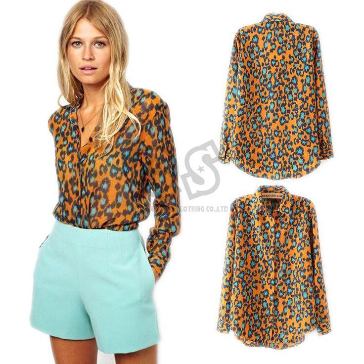 Wholesale Product Snapshot Product name is 2015 весна осень леопардовым принтом женская блузка и рубашки с длинным рукавом Blusa Femininas Blusa де ренда Q238