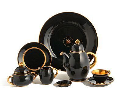 NORA GULBRANDSEN KRISTIANIA 1894 - OSLO 1978  Kaffeservise Porsgrund Porselen. Art deco. 1930/40-tallet.