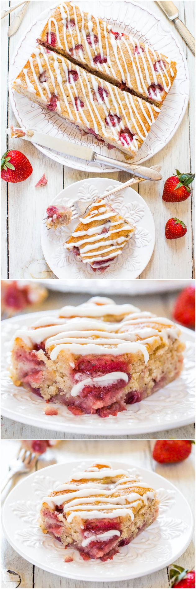 Soft & Fluffy Strawberry Banana Cake (vegan) - You'll never miss the eggs or butter in this soft, healthier cake bursting with berries!