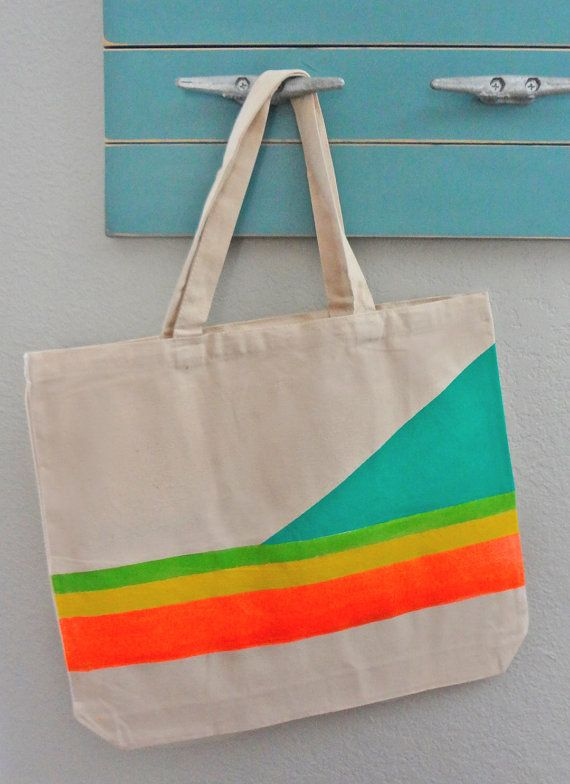 Tote Bag with neon colors  beach bag purse or by RadBagGear, $19.95