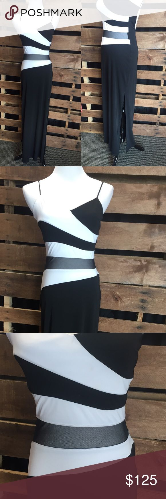 Black/white Homecoming or Prom party dress So cute! Sheer strip on the front, ties in the back like a bikini top, side left skit. Popular Jersey material. Tag says size 7/8 Be Smart Dresses Backless