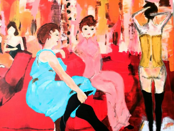 We are creatures of the underworld, we cannot afford love.  Toulouse Lautrec/Moulin Rouge inspired acrylic painting 80 x 120 cm.