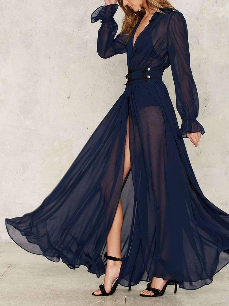 Ruffle Sheer Elegant Maxi Dress