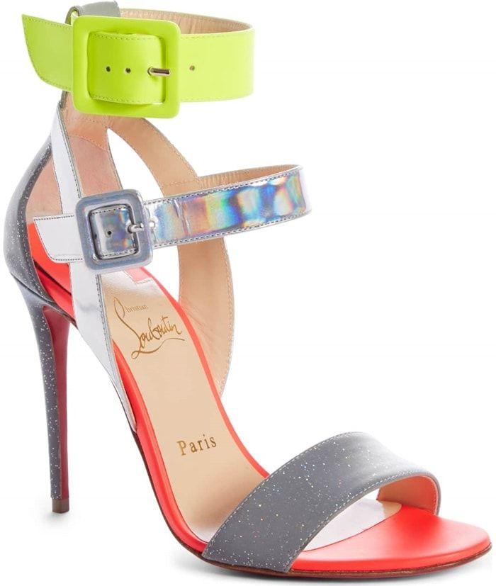 c736a5f51dd7 Silver Multi Multipot 100 Leather Red Sole Sandals