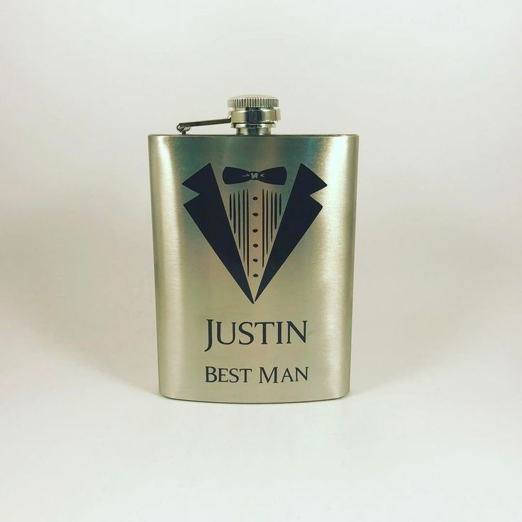 I've seen a lot of gifts for bridesmaids made with craft vinyl, but check out these groomsmen flasks!