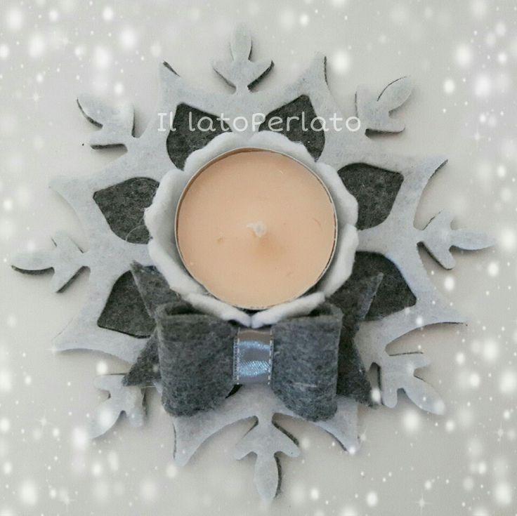 Il lato Perlato: Portacandela fiocco di neve in feltro bianco e grigio