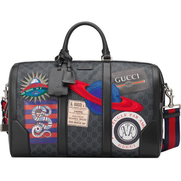 Gucci Night Courrier Soft Gg Supreme Carry-On Duffle ($3,490) ❤ liked on Polyvore featuring men's fashion, men's bags, mens leather bag, mens bag, mens travel suitcase, mens travel bag and mens duffle bags