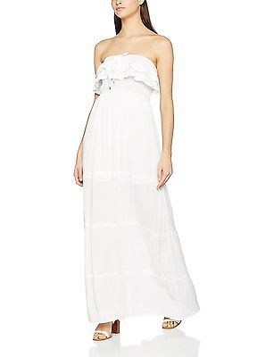 UK 8, white (white), Springfield Women's 3.Pa.Vestido Largo Volant Casual Dress