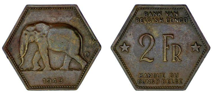 2 FRANCS BELGIAN CONGO - 2 FRANCOS CONGO BELGA. ELEPHANT. 1943. XF/EBC.