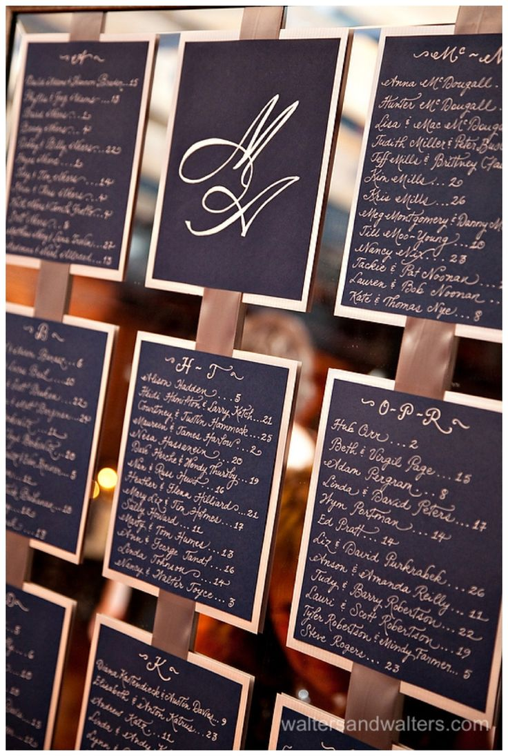 Check out this gorgeous wedding (A Swanky Affair).  I did the mirror seating chart!   Calligraphy by Carrie