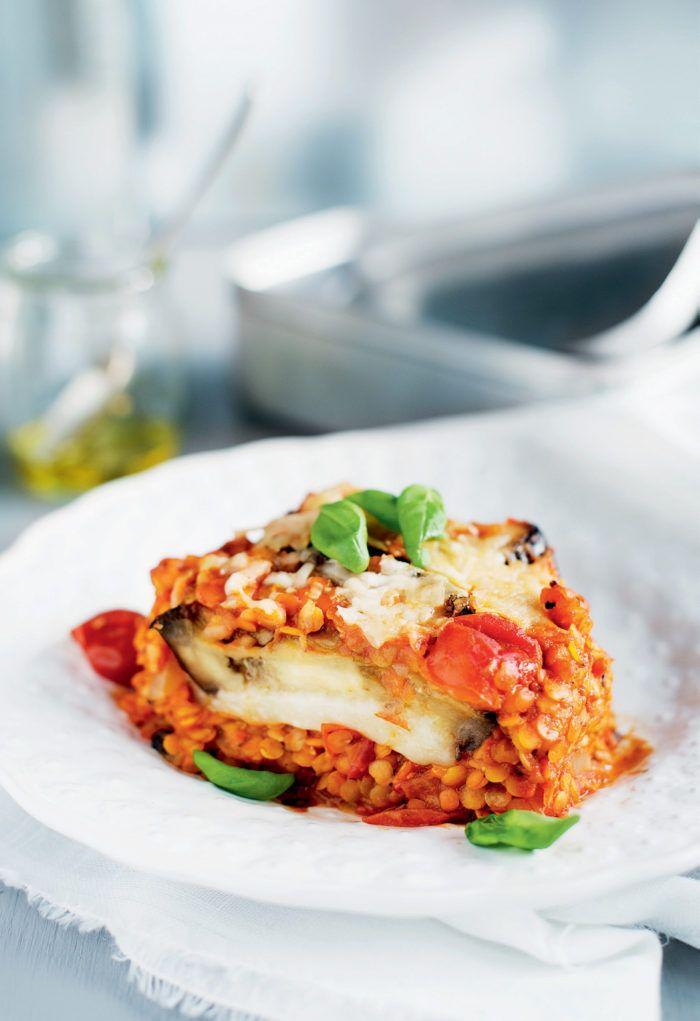 Auberginegratäng med linser och mozzarella   Elle mat & vin