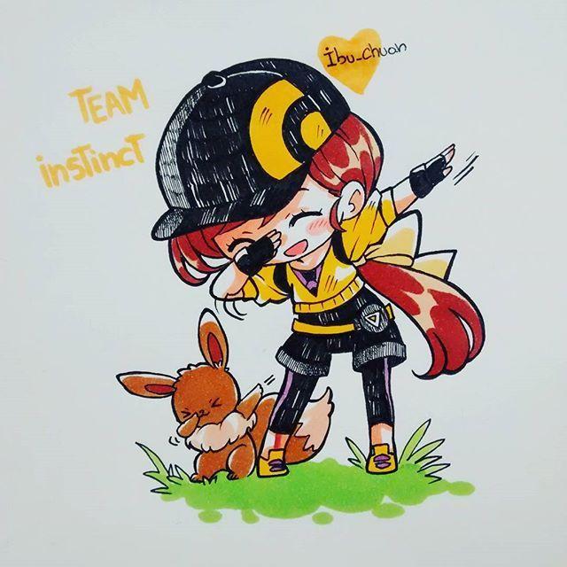 """What team are you? :D Cual es tu equipo? owo Considero que los tres equipos son buenos en cuanto sus características, además de los tres líderes. Pero instinto fue el elegido, se pasa bien ahí  ya sabía a qué equipo irme, así que cuando el personaje de Spark comienza a presentarse, yo con cara de idiota estaba: """"si wn, te vendo mi alma""""  es tan lindo el  #pokemongo #teaminstinct #teaminstinct⚡ #pokemon #eevee #pokemontrainer #chibi #instadraw #instaanime #instaart #pokemonartist #pokem..."""