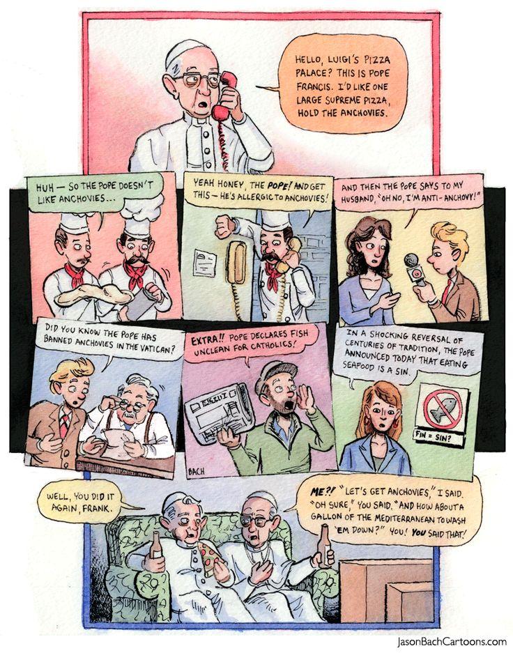 Jason Bach Cartoons | Qui Tollis Pisces Mundi #PopeFrancis #PopeBenedict #HolyRomemates