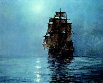 Tall ships paintings -The sound of silence on the ocean at night is very Haunting.