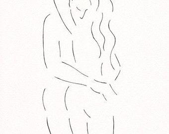 Arte di linea minimalista coppia. Arte della parete di siret
