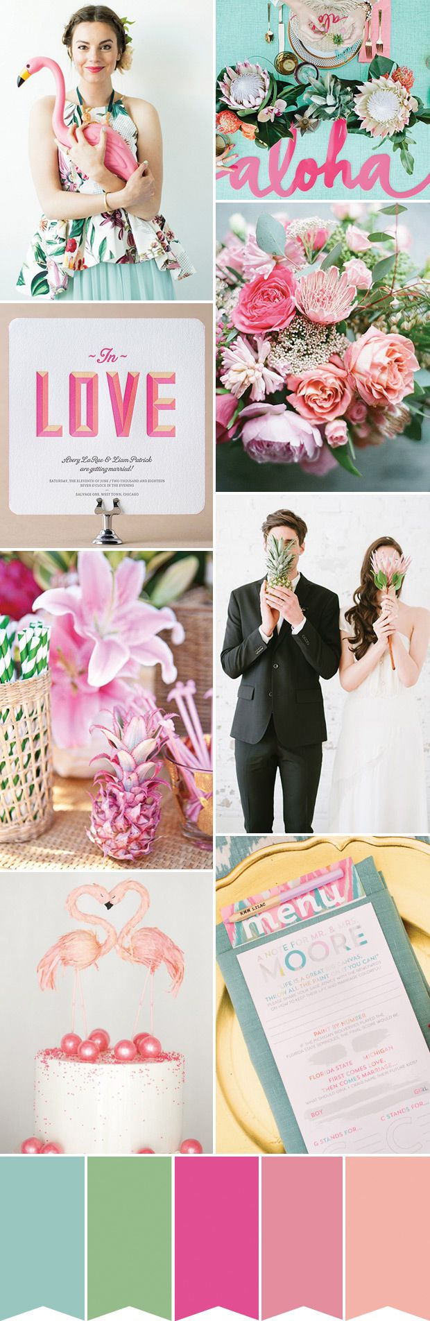 Flamingos and Pineapples! Tropicana Inspired Wedding | www.onefabday.com
