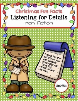 This download will create everything you need to make 48 individual fun fact cards about Christmas and a fun motivational game.All text is nonfiction and covers many aspects of Christmas including the history of trees, lights, candy canes, decorations, and the holiday itself.Use these cards to target auditory listening skills for details.It can also be used to target these additional skills: carry over of articulation skills fluency of speech rate and volume of voice reading comprehensionA…