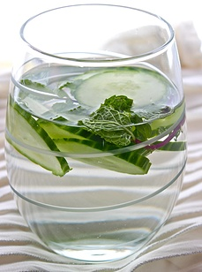 INFUSE  YOUR  WATER Cucumber and Mint Cooler-  Ingredients: 6 cups chilled still spring or mineral water 12 thin slices cucumber - Few sprigs of mint - all recipe in the website