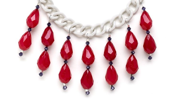 Is July's birthstone too pricey for you? These red acrylic beads fill in nicely.