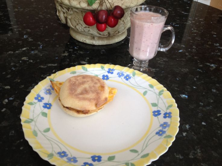 Fruit smoothie and egg mc muffin!!