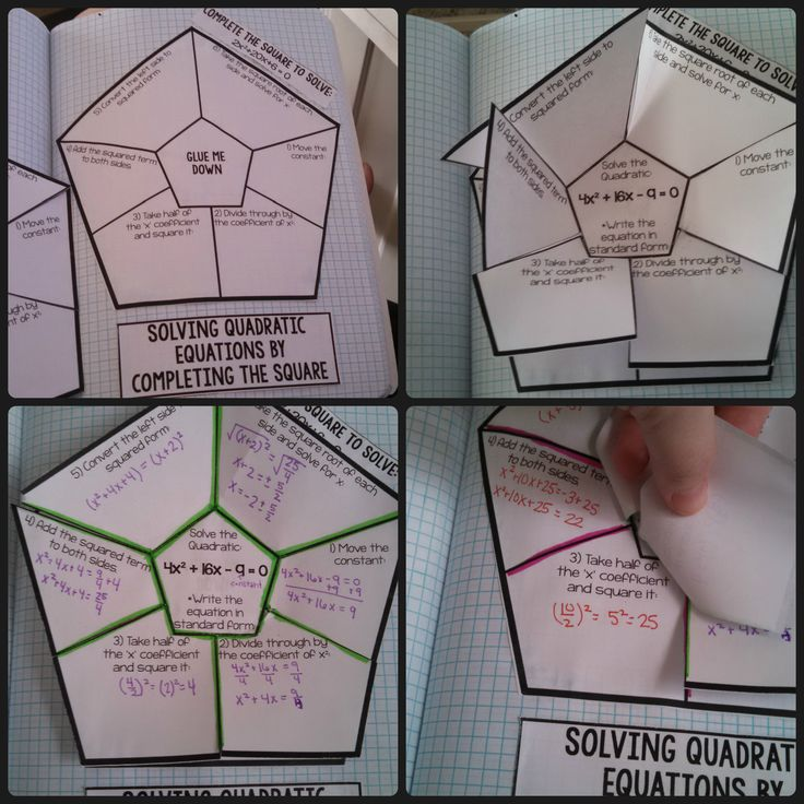 Solving Quadratic Equations by Completing the Square Foldable Interactive Page ($)
