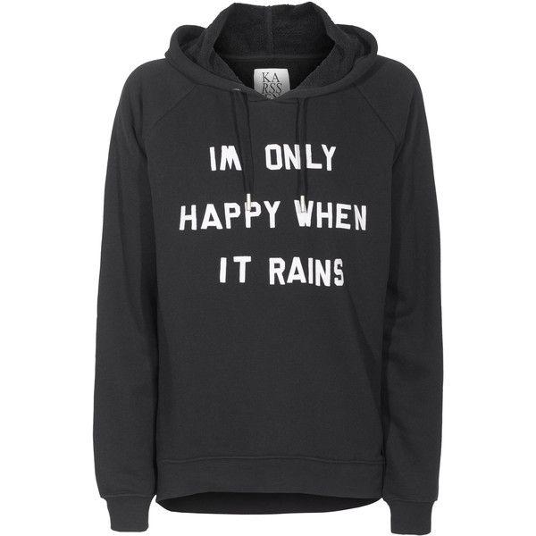 ZOE KARSSEN Happy Hood Black Cotton blend hoodie with slogan (£60) ❤ liked on Polyvore featuring tops, hoodies, sweaters, shirts, hooded pullover, black hoodies, raglan sleeve shirts, black hooded sweatshirt and black top