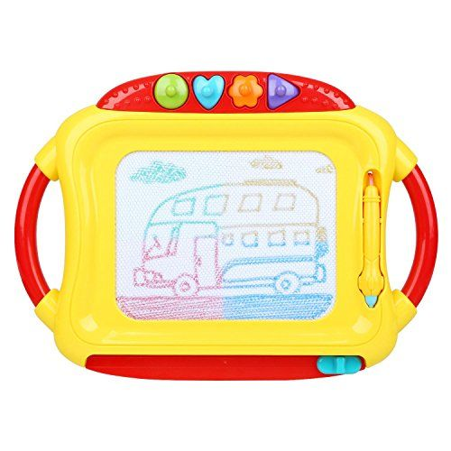 Peradix Doodle Magnetic Drawing Board Sketch Tablet Education Writing Drawing Painting Colorful Erasable Toy for Toddler Kids (Red&Yellow):   Product information/b:br Material: ABSbr Colors: Red & Yellow (The colors of accessories will be random shipments)br Size: 35 × 31 × 5 cmbr Net Weight: 412gbr Gross Weight: 687gbr Suitable Age: 3 years and upbr Packing List: br 1 × drawing boardbr 1 × penbr 4 × graphics stamp accessoriesbr