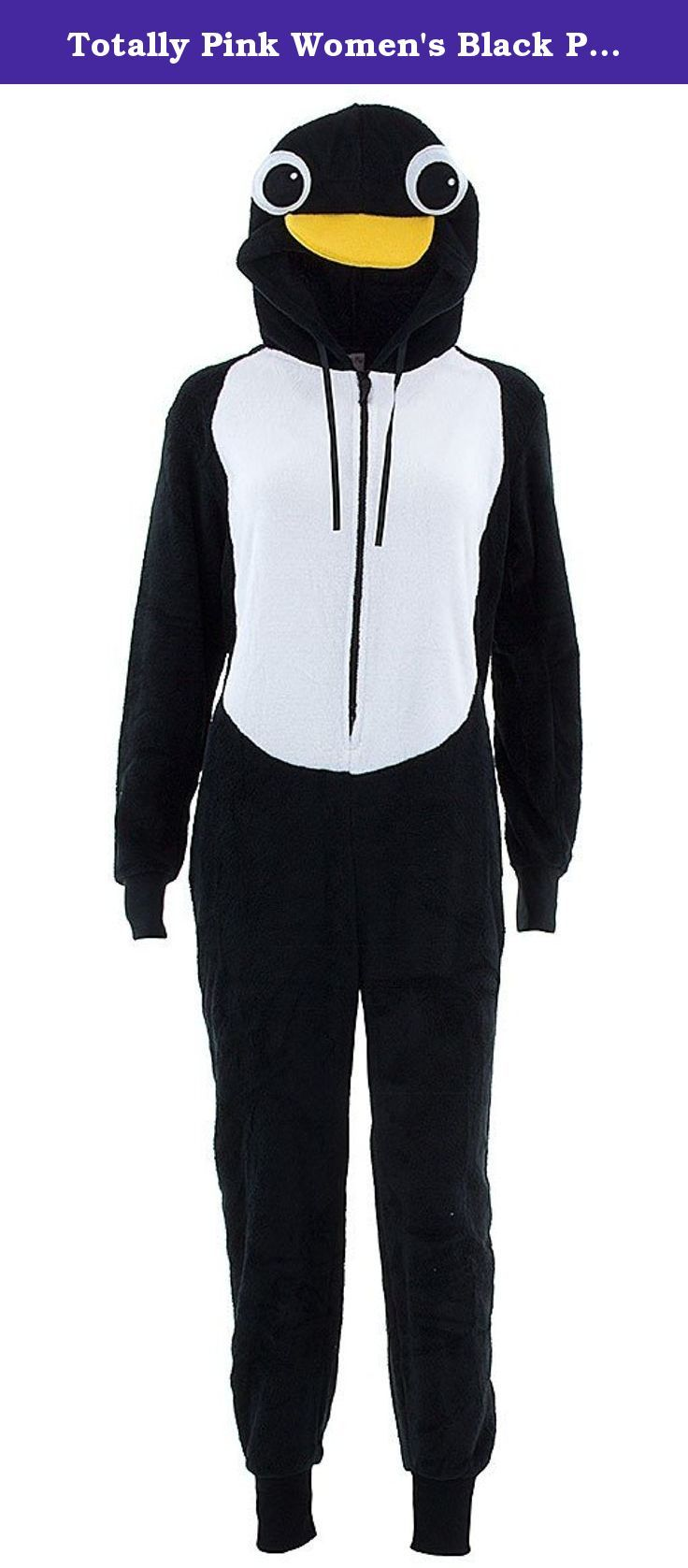 Totally Pink Women's Black Penguin Hooded One-Piece Pajamas L. These Totally Pink brand onesie pajamas are black with a white penguin tummy. The hood has a cute penguin's face on the front with a yellow fabric beak sticking up from the hood. The sleeves and leg bottoms are cuffed with black jersey knit fabric. The polyester fleece fabric is machine washable and is warm and cozy. These Totally Pink brand one-piece pajamas zip up the front for easy access.