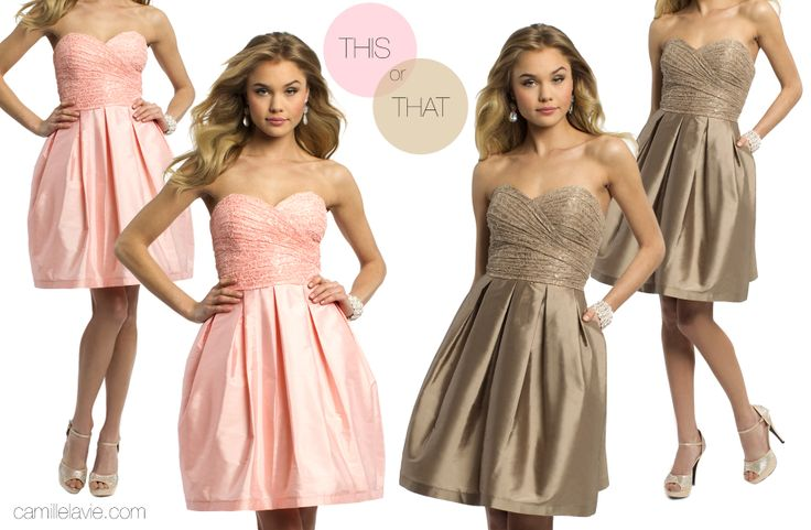 Camille La Vie Short Lace Box Pleat Strapless Dress for Prom