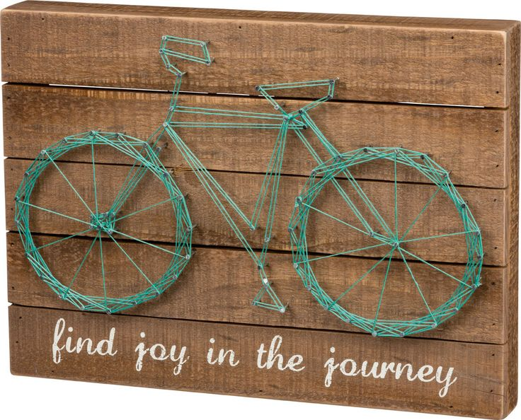 Find Joy in the Journey - Bicycle String Art Sign - Primitives by Kathy from California Seashell Co