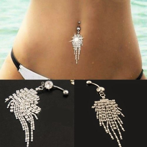 Sparkling Silver Plated Crystal Rhinestone Tassel Chain Dangle Body Piercing Navel Belly Button Ring