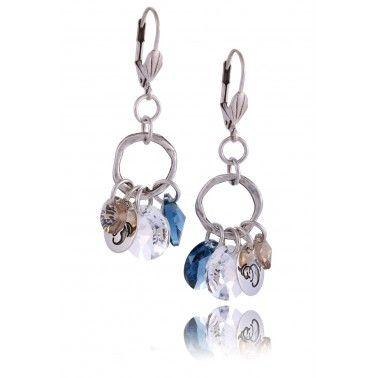 kolczyki, niebieskie, kryształki