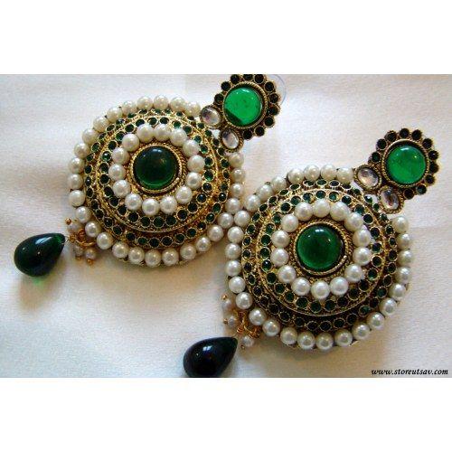 Online Shopping for Polki Earrings Green Rajasthani