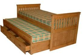 Captains Bed - £399.95 - Probably the best quality of it's kind that you will find. We have been selling this exact same model for over 15 years. Much copied, but never the same quality as ours.  Although a popular bed for kids rooms this is also a big seller to customers who want a functional piece of furniture as well as the flexibility to act as a guest bed for one or two people. The main frame has another 3ft bed underneath as well 3 large drawers for storage.