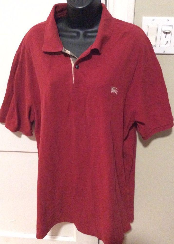 Burberry Brit Men Casual Short Sleeve Nova Mens Polo Shirt Red 2XL Golf Tennis