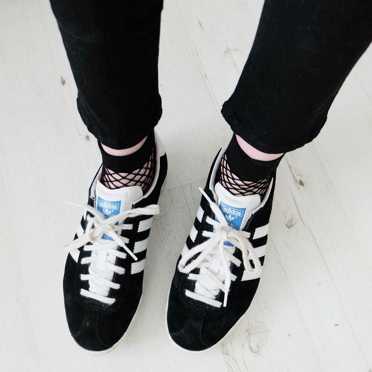 adidas gazelles, fishnet socks