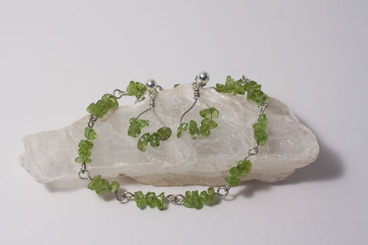 August Birthstone is Peridot.  This Peridot and Sterling Silver bracelet and earrings are a perfect August  birthday treat!