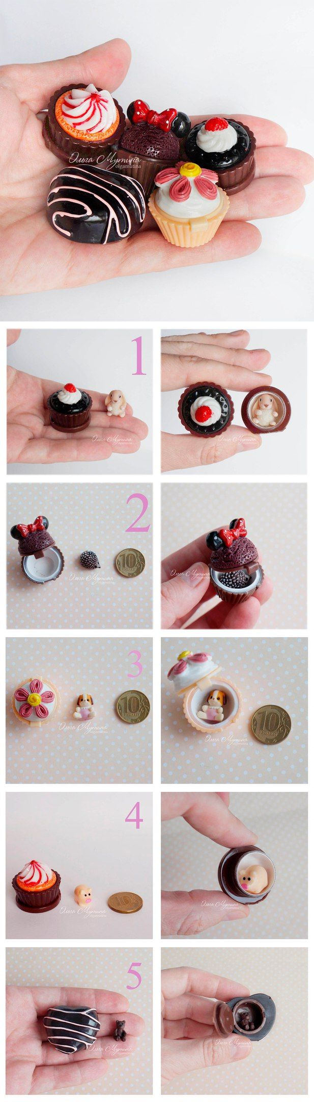 Polymer Clay Candy Boxes   Тайники в конфетах