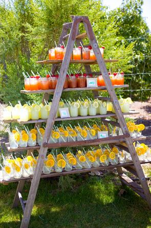 A simple and visually great way of displaying drinks - for either the wedding reception or the Sunday BBQ