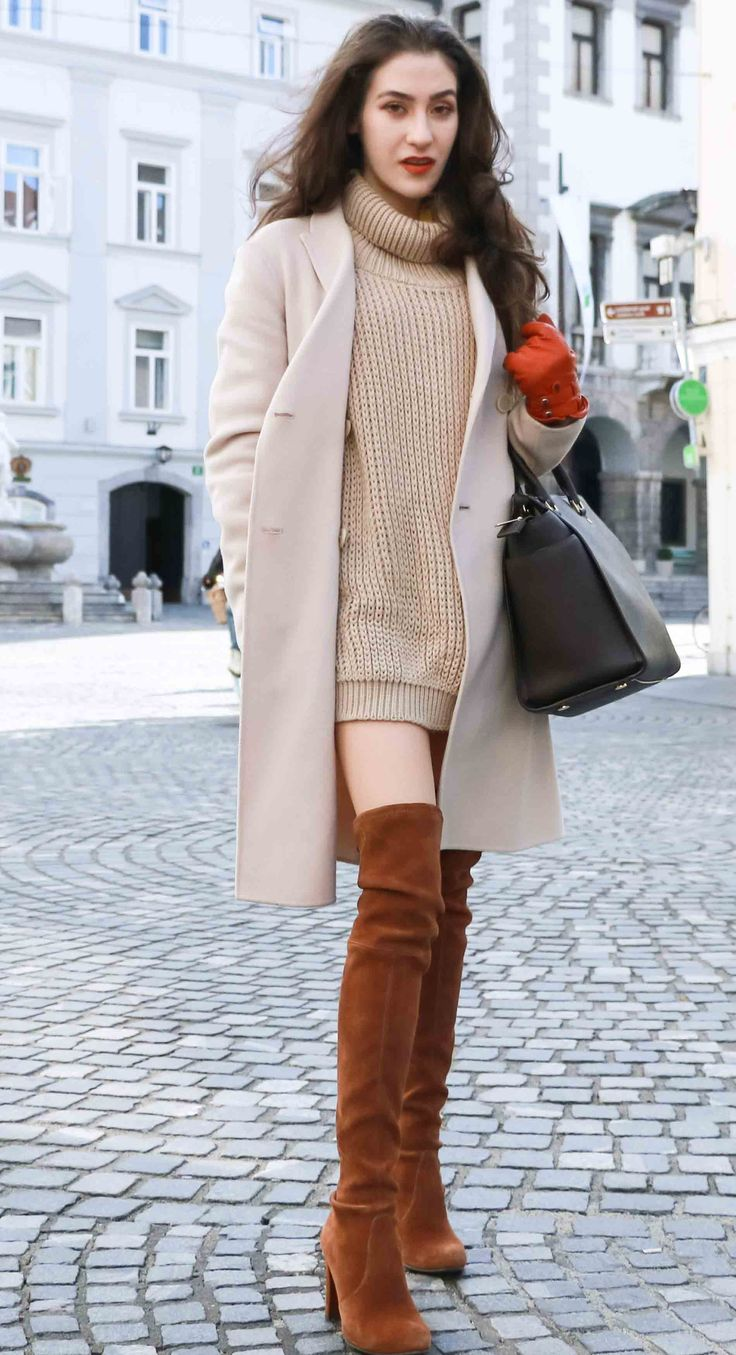 Fashion Blogger Veronika Lipar of Brunette from Wall dressed in double breasted coat, cable knit turtleneck camel sweater dress and brown Stuart Weitzman over the knee boots, brown Michael Kors Selma bag, leather gloves