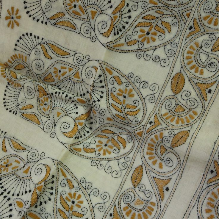 Mustard on cream kantha embroidered tussar silk saree from West Bengal, India