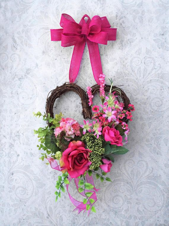 Valentine's Day Wreath, Pink Silk Floral Heart Wreath, Mother's Day Wreath, Spring Wreath, Sweetheart Wreath, by Adorabella Wreaths on Etsy!