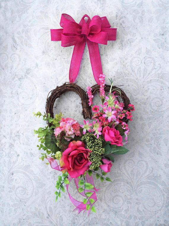 Corona de San Valentín corazón corona por AdorabellaWreaths en Etsy