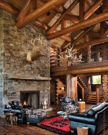 Log Cabin? Yes Please! Rock FireplacesRustic Living RoomsLiving Room IdeasCountry  ...