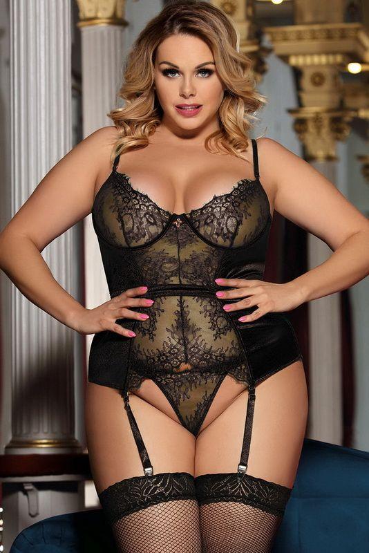 47477b52415 Plus Size Eyelash Lace Bustier & Thong Set - Plus size eyelash lace and  shiny stretch