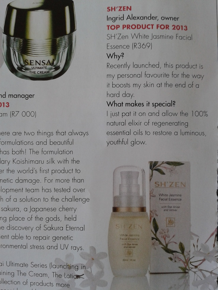 LONGEVITY April 2013 rates our White Jasmine Facial Essence as one of '2013 #beauty products to not live without' :)   http://www.shzen.co.za/face_white_jasmine.php