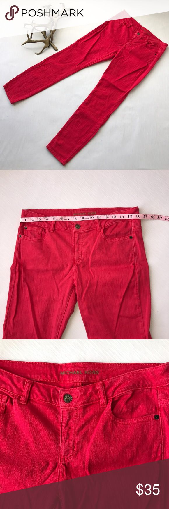 Michael Kors Size 6 AS IS Michael Kors size 6, in great used condition, only thing is a bit faded around pockets and waist area. Bright red, skinny leg, comfy. Michael Kors Pants Skinny